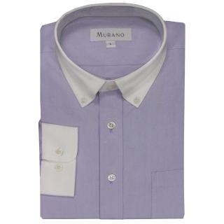 【MURANO】白領撞色長袖襯衫(紫色)