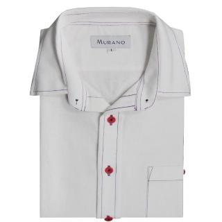 【MURANO】CVC牛津布長袖襯衫(白色)
