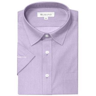 【MURANO】40斜紋經典短袖襯衫(淺紫色)