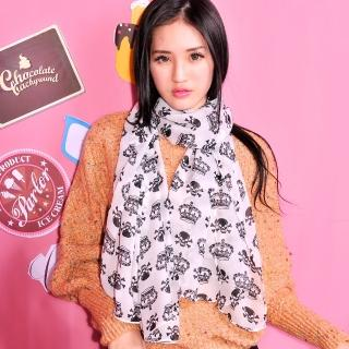【Lady c.c.】皇冠骷髏時尚巴黎紗圍巾(白)
