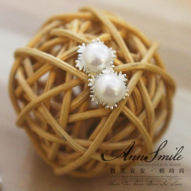 【微笑安安】珍珠雪花925純銀耳環