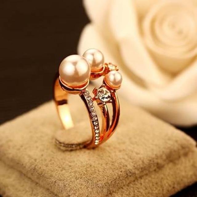 【米蘭精品】玫瑰金戒指鑲鑽流行飾品(經典高貴奢華流行七夕情人節生日禮物73by1)
