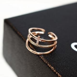 【米蘭精品】玫瑰金戒指鑲鑽流行飾品(時尚小十字架設計七夕情人節生日禮物73by10)