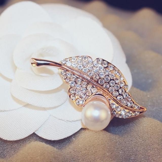 【米蘭精品】玫瑰金胸針鑲鑽流行飾品(精緻珍珠葉子造型七夕情人節生日禮物73bz21)