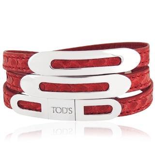 【TODS】鱷魚紋真皮三環釦手環-紅色(M/L號)