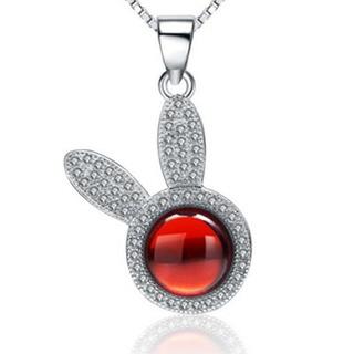 【米蘭精品】項鍊鑲鑽流行銀飾品(精緻可愛兔子母親節情人節生日禮物73am88)