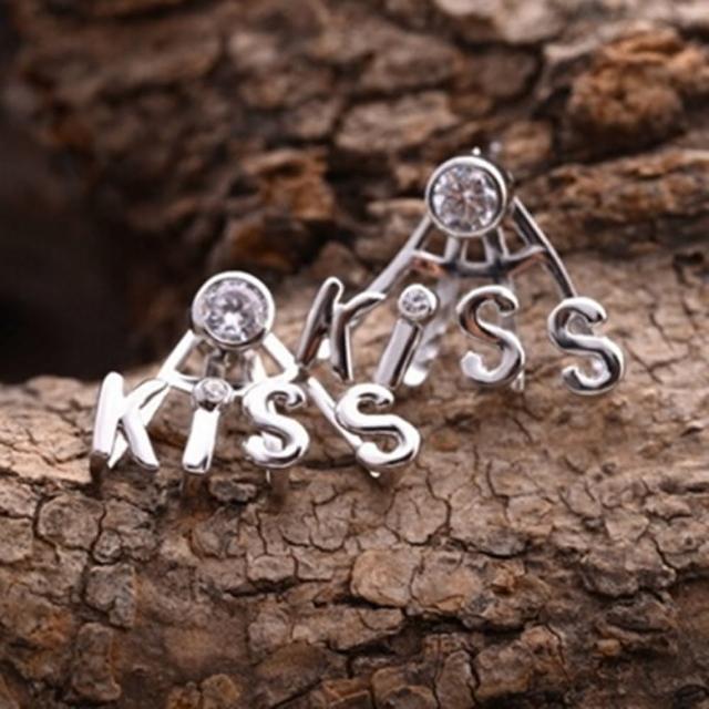 【米蘭精品】耳環鑲鑽流行銀飾品(時尚字
