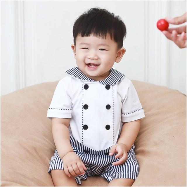 【baby童衣】海軍風圓領雙排釦假兩件連身衣 60354(共1色)