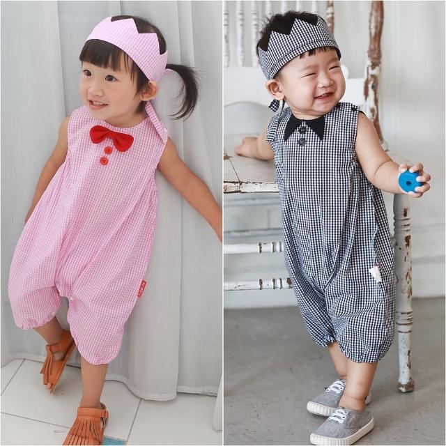 【baby童衣】經典格紋圓領無袖連身衣附頭飾 兩件組 60355(共2色)