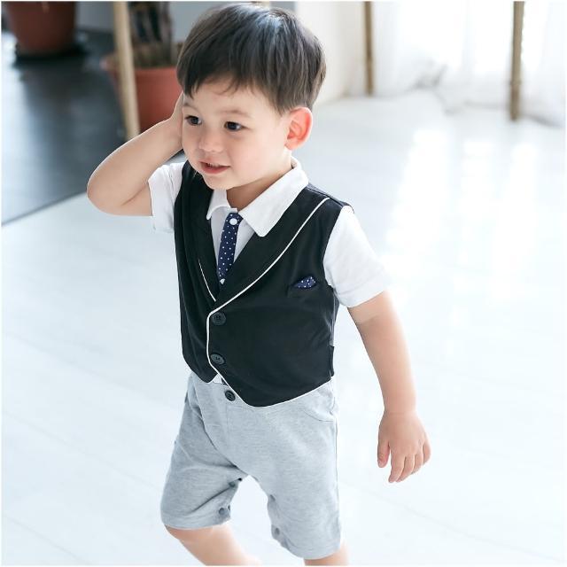 【baby童衣】短袖紳士背心假三件連身衣 60356(共1色)