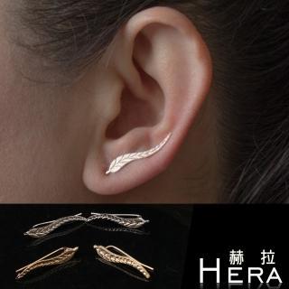【Hera】樹葉線條中性耳針/ 耳環/ 1對入(2色)