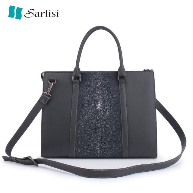 【Sarlisi】泰國磨皮珍珠魚皮復古公事包(磨皮珍珠魚皮-灰色)