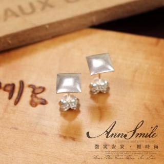 【微笑安安】簡約方形鉚釘925純銀耳環