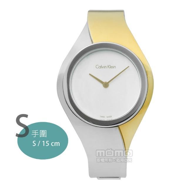 【Calvin Klein】Senses 璀璨婉約一體成形手環式不鏽鋼手錶 銀x金 34mm(K5N2S1Y6)