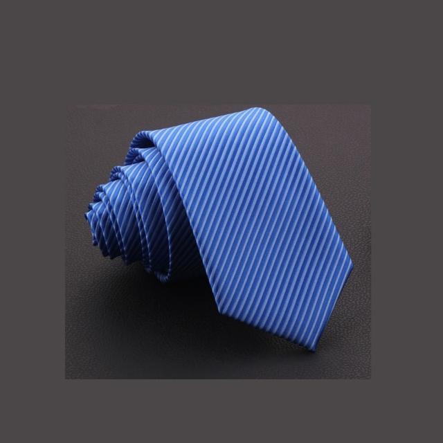 【拉福】斜紋7cm中寬版領帶拉鍊領帶(藍色)