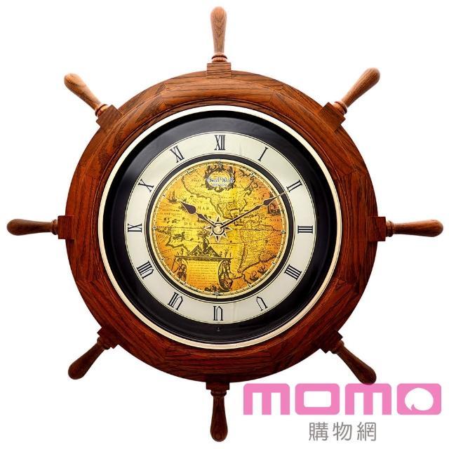 【RHYTHM日本麗聲】航海時代船舵造型音樂舞台報時掛鐘(航海時代)