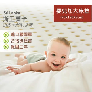 【BN-Home】超Q彈-100%馬來西亞天然嬰兒乳膠床墊70x120x5cm(超Q彈-100%馬來西亞天然嬰兒乳膠床墊)