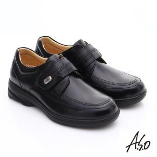 【A.S.O】超能耐 綿羊皮奈米氣墊休閒皮鞋(黑)