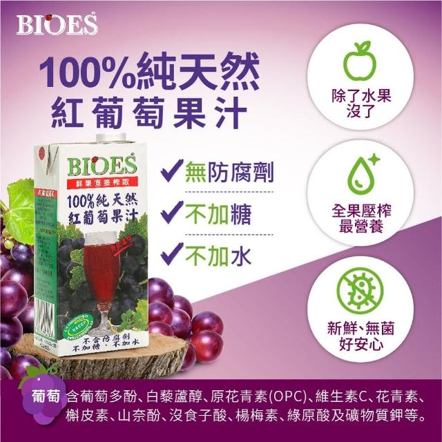 【囍瑞 BIOES】100%純天然葡萄汁原汁(家庭號 - 1000ml)