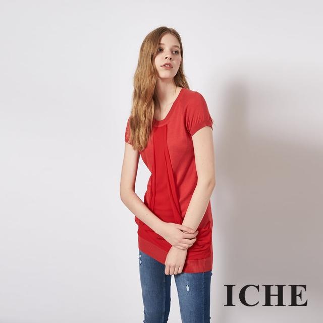 【ICHE 衣哲】百搭拼接長版針織短袖造型上衣