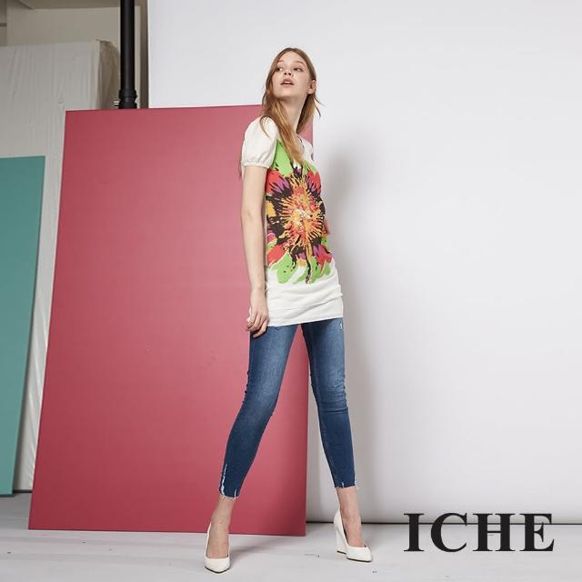【ICHE 衣哲】花卉印花拼接長版造型短袖針織上衣