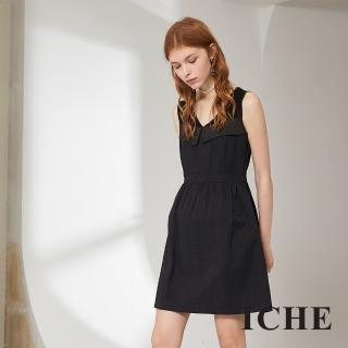 【ICHE 衣哲】簡約時尚提花馬甲拼接造型洋裝