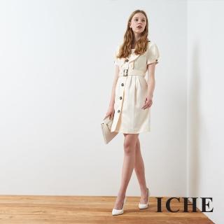 【ICHE 衣哲】英式仿軍裝拼接造型洋裝
