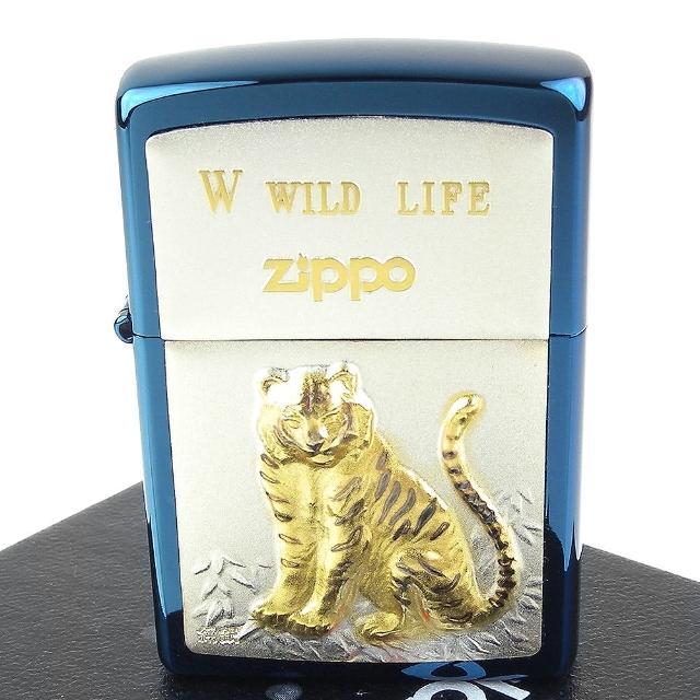 【ZIPPO】日系-WILD LIFE-老虎圖案鍍鈦純銀貼片打火機