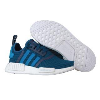~Adidas~Originals NMD R1系列潮流織紋網面慢跑鞋 藍色 藍白