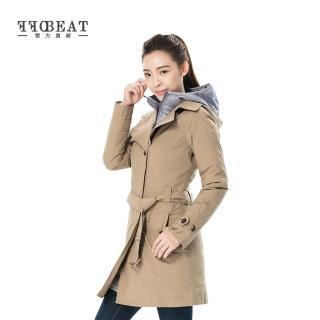 OFFBEAT 女款單排釦簡約時尚防水風衣 - 卡其