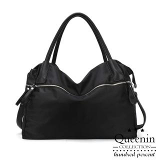 【DF Queenin】韓版黑魅力尼龍款手提斜背2way包