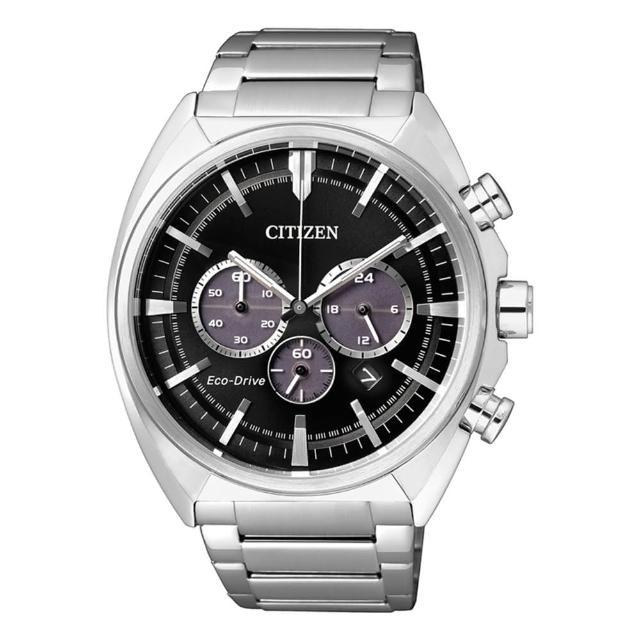 【CITIZEN星辰】沉穩內斂光動能三眼計時腕錶-黑/45mm(CA4280-53E)