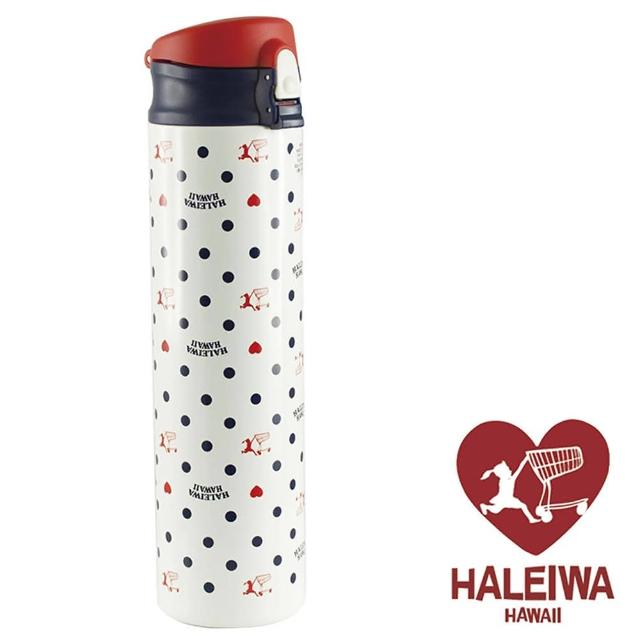 【日本HALEIWA】點點不鏽鋼彈蓋式保溫保冷瓶600ml-白色