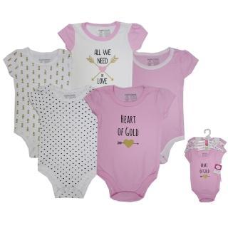 【美國 luvable friends】嬰幼兒短袖包屁衣5件組_善良的心(LF50873)