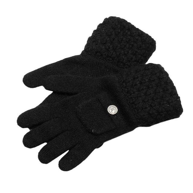 【CHANEL】經典LOGO刻字鈕釦口袋造型織邊喀什米爾羊毛手套(黑51888-NOIR)