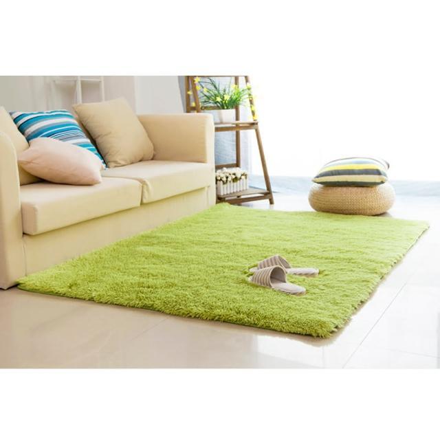 【幸福揚邑】舒壓長毛羊絲絨超軟防滑吸水地墊地毯-青綠(80x160cm)/