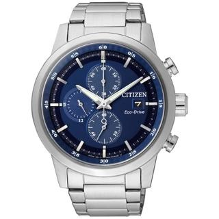【CITIZEN星辰】Eco-Drive光動能 時尚簡約三眼計時腕錶-銀藍/43mm(CA0610-52L)