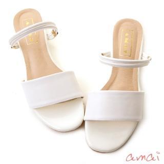【amai】2way寬細繞帶金屬環小坡跟涼鞋(白)