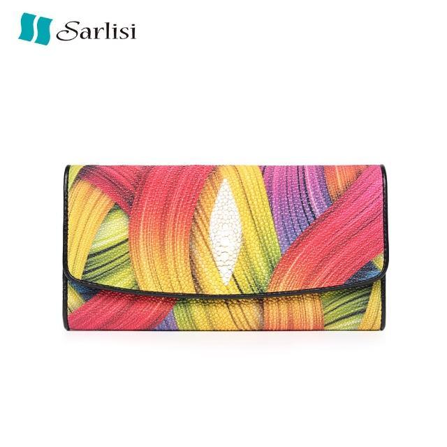 【Sarlisi】簡約典雅珍珠魚皮三折長夾(彩色)