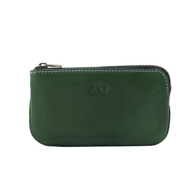 【Sika】義大利時尚真皮經典拉鍊零錢包(A8238-08深墨綠)
