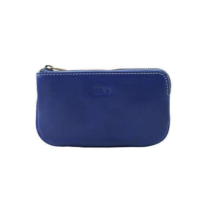 【Sika】義大利時尚真皮經典拉鍊零錢包(A8238-05亮寶藍)