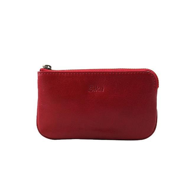 【Sika】義大利時尚真皮經典拉鍊零錢包(A8238-04魅惑紅)