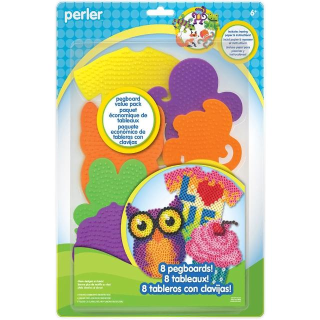 【Perler 拼拼豆豆】八入世界之窗造型模型板組合(猴子、樹蛙、章魚、爬蟲、T恤、蛋糕、貓頭鷹、門窗)