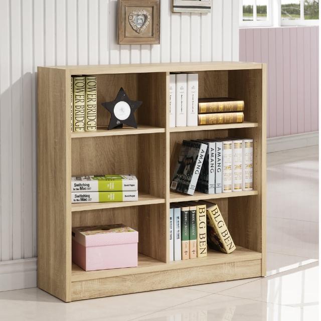 【康迪仕】寬六格書櫃-3D木紋-淺木色(收納櫃/置物櫃)