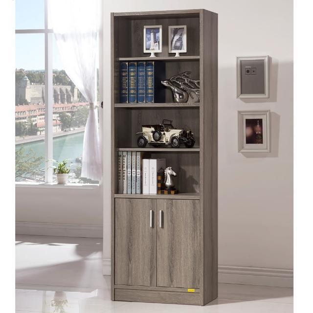 【COMDESK】六格雙門櫃-3D木紋-深木色(書櫃/收納櫃)