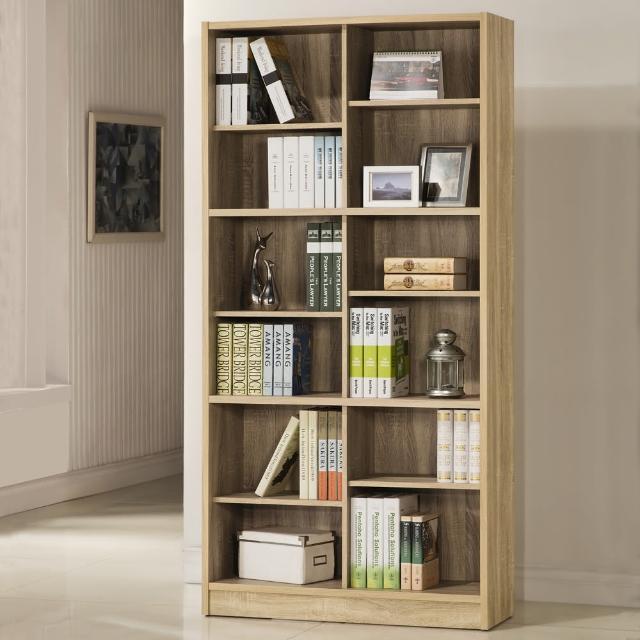 【COMDESK】十二格書櫃-3D木紋-淺木色(置物櫃/收納櫃)
