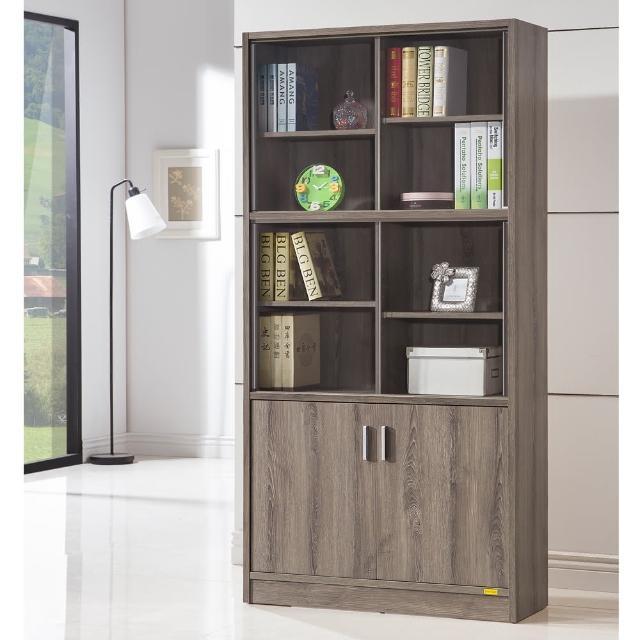 【COMDESK】十二格雙門玻璃書櫃-3D木紋-深木色(置物櫃/收納櫃)