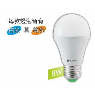【KINYO】8W LED超節能燈泡-黃光(HLED-08Y)