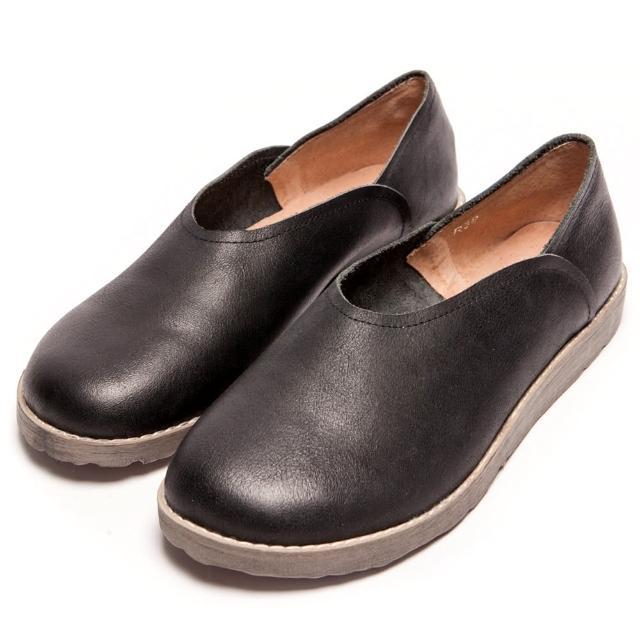 【2.Maa】真皮復古素面寬頭厚底包鞋(黑)