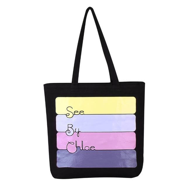 【See By Chloe】經典LOGO塗鴉淡系色彩造型帆布束口托特購物肩背包(黑色)